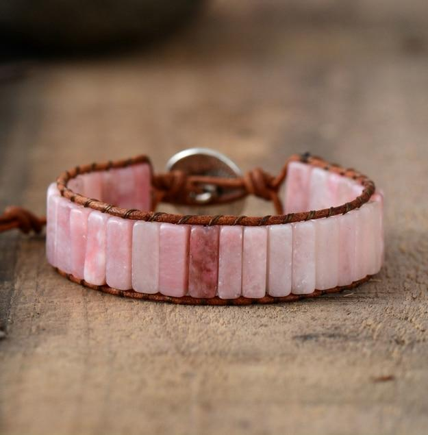 Bracelet With Tube Shaped Pink Opal Stones