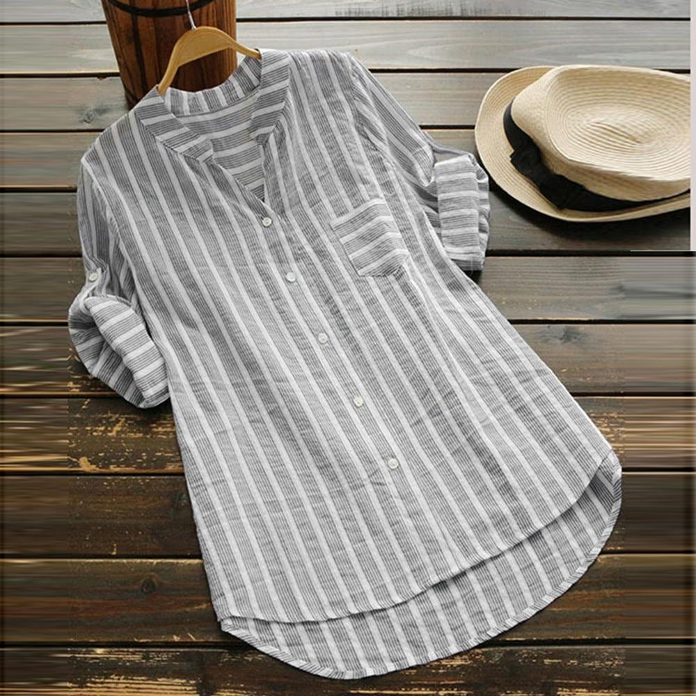 V Neck Blouse With Elegant Stripes