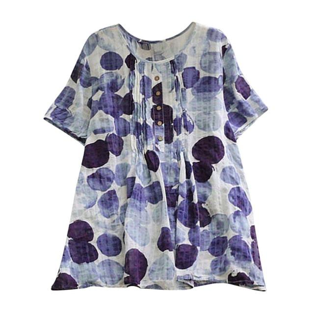 Tunic Style Blouse With Blue Spots