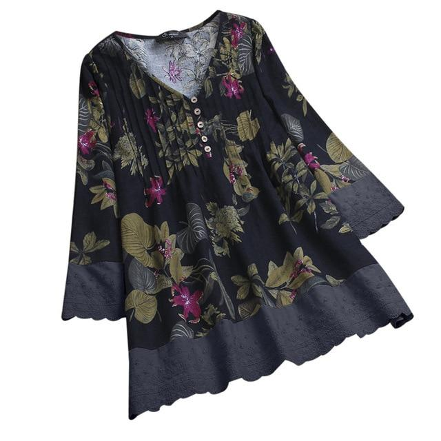 Bohemian Style Blouse With Floral Design
