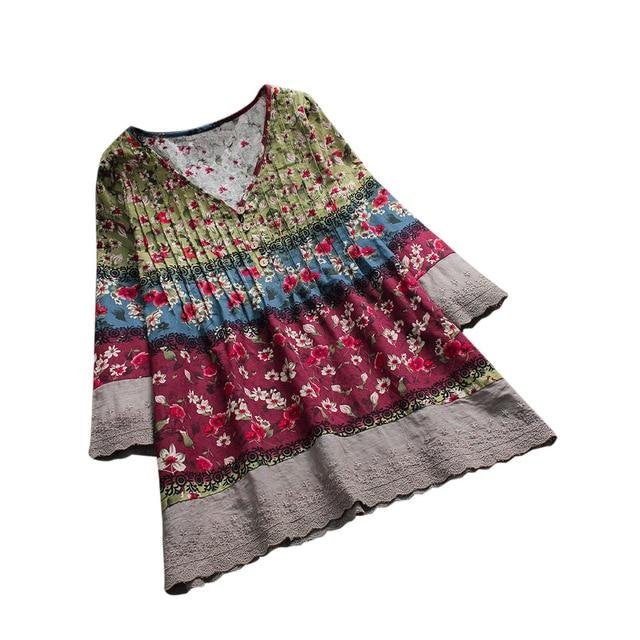 Tunic Style Blouse With Floral Design