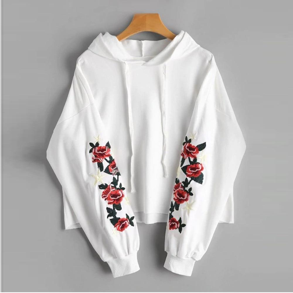 Long Sleeve Hoodie With Floral Details