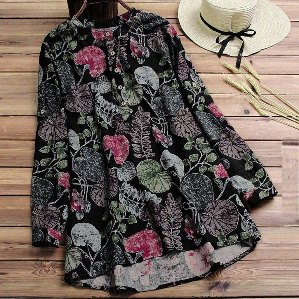 O Neck Blouse With Floral Design
