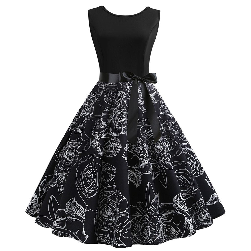 Sleeveless Party Dress With Floral Design Lower Seciton