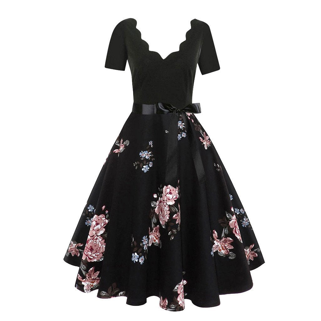 Knee-Length Party Dress With Floral Design