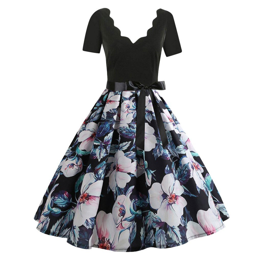 Party Dress With Floral Design Lower Section