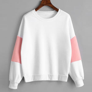Sweatshirt White With Pink Arm Sections