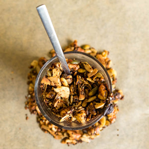 Crunchy granola made with the highest quality nuts, seeds and oils