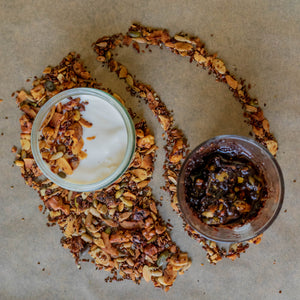 Crunchy granola made with the highest quality nuts, seeds and oils.