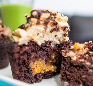 Low carb vegan chocolate hazelnut cupcake