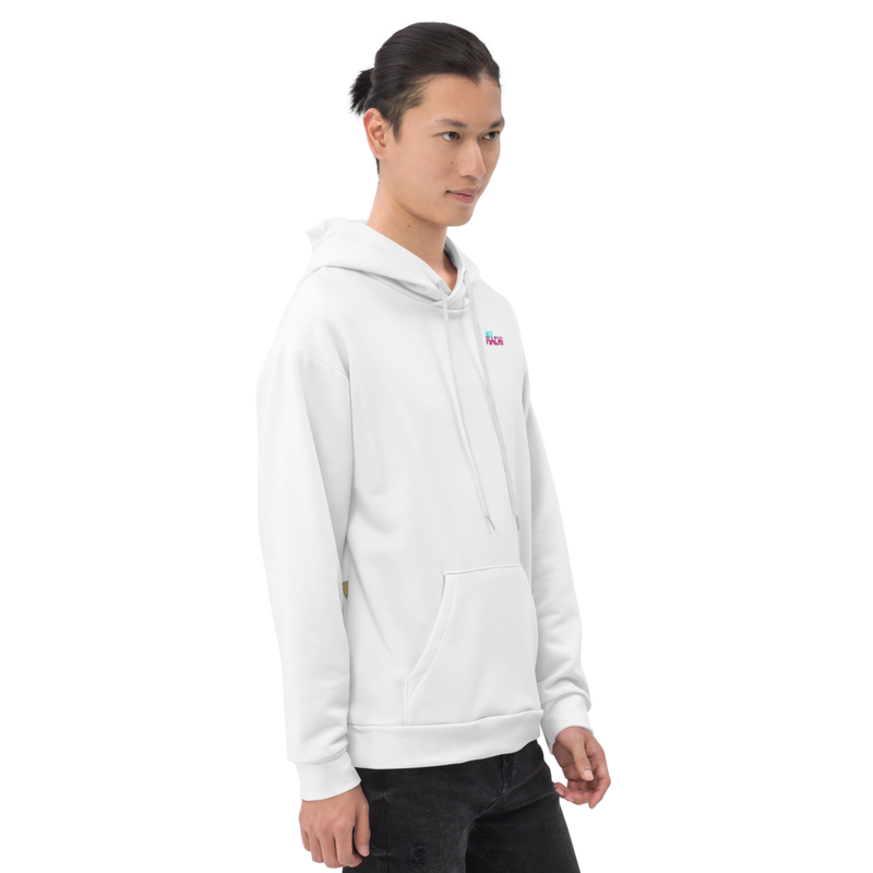 Saibogu hoodie - White - Model Side 2 - cyberpunk sweaters - Neomachi