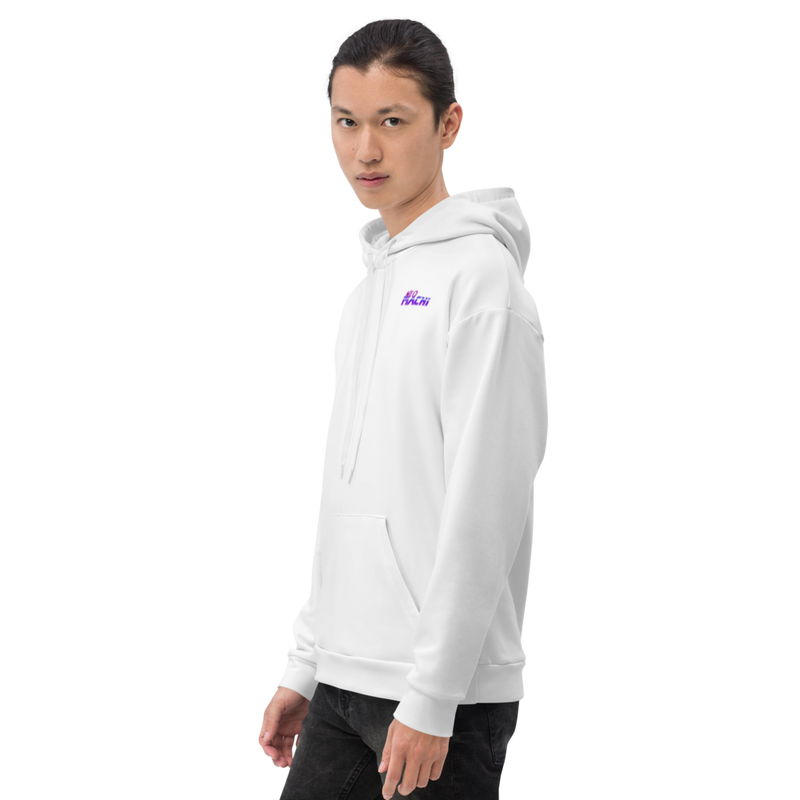 Metarugaru hoodie - White - Model Side 2 - cyberpunk sweaters - Neomachi