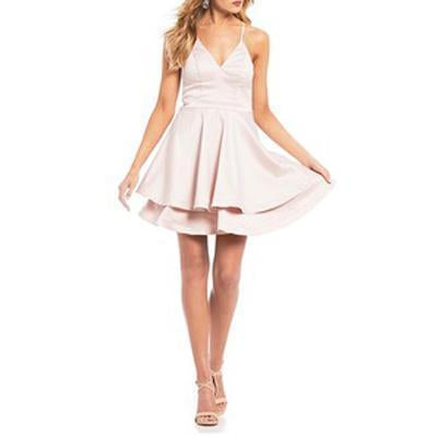 AGNES ruffle satin dress