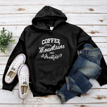 Load image into Gallery viewer, Coffee Mountains and Adventures Hoodie - Pine and Oak