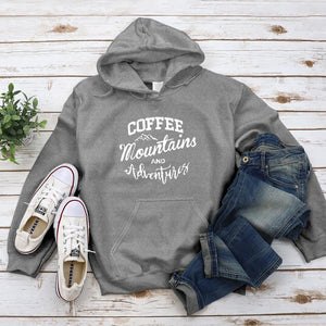 Coffee Mountains and Adventures Hoodie - Pine and Oak