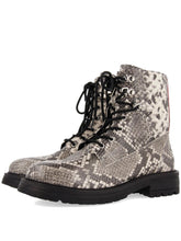 Load image into Gallery viewer, MONTANA snakeskin leather lace up lug boot *reclaimed collection*
