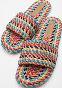 Sunny Vegan Rope Slide in Multi Rainbow