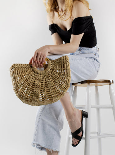 salt+umber straw handbag