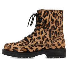 Load image into Gallery viewer, MONTANA leopard haircalf lace up lug boot *Pre-Order*
