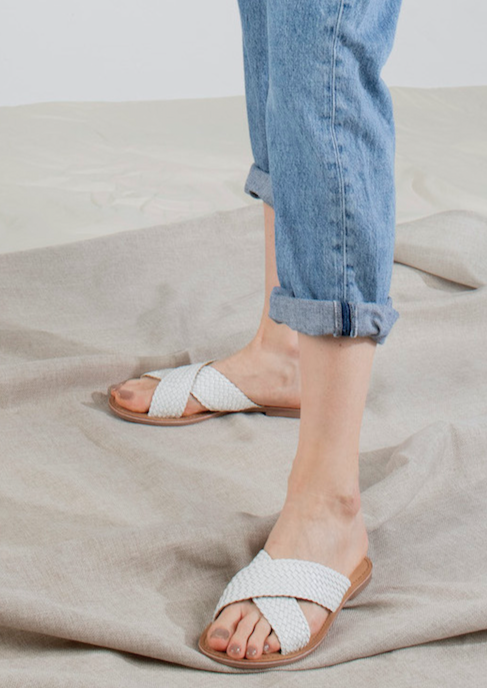 Dani Handwoven X-Band Slide in White
