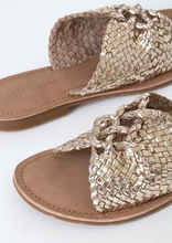 Load image into Gallery viewer, Tarifa Handwoven Gold Interlocking Sandal