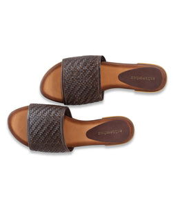 Ibiza Reclaimed Woven Slide in Brown