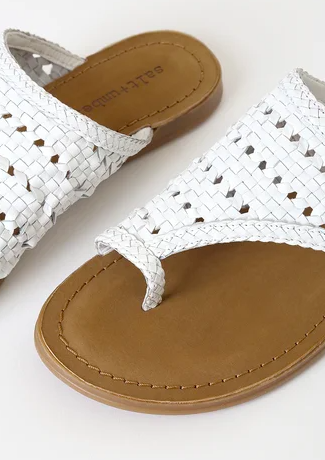 handwoven white leather toe loop sandal made in India- ATHENA by salt+Umber