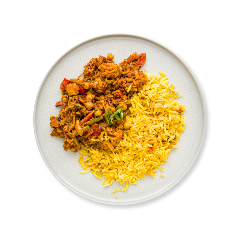 Vegetable Jalfrezi & Rice - Root Kitchen UK