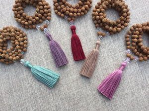 Meditation // 108 Rudraksha & Clear Quartz Mala Beads // Hand knotted Mala Necklace