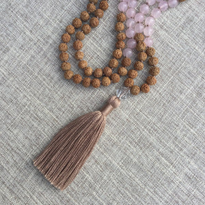 Love Within // Hand Knotted 108 Mala Bead Necklace // Rose Quartz, Clear Quartz & Rudraksha