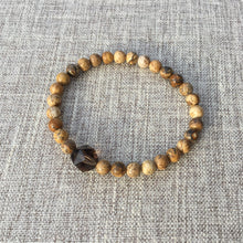 Load image into Gallery viewer, Earthly Nurture // Sacred Single Wrist Mala  Bracelet // Sand Picture Jasper & Smokey Quartz