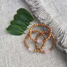 Load image into Gallery viewer, I Am Love // Sacred Single Wrist Mala Bracelet // Rose Quartz & Sandalwood