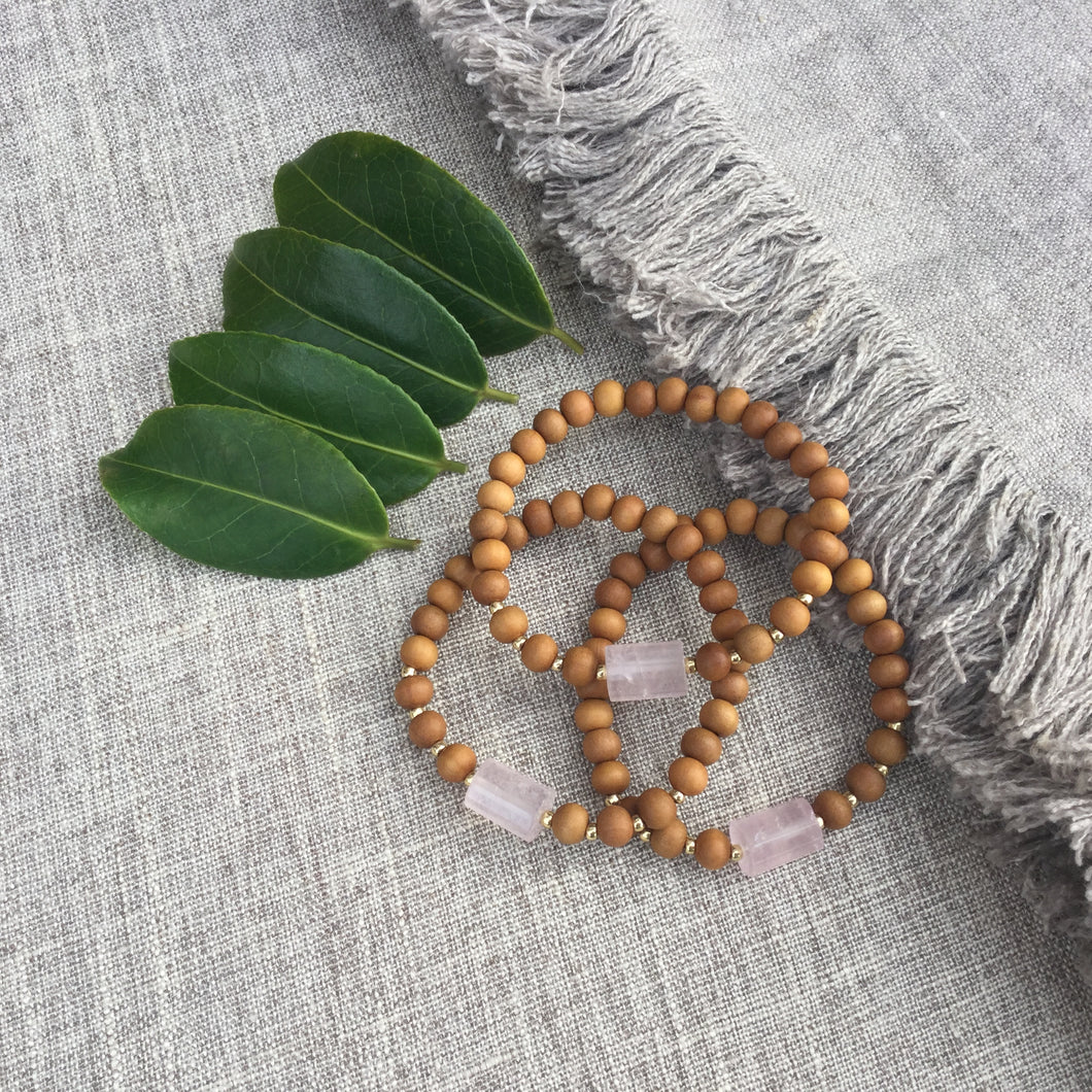 I Am Love // Sacred Single Wrist Mala Bracelet // Rose Quartz & Sandalwood