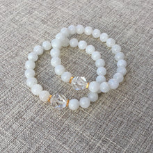 Load image into Gallery viewer, Shine // Sacred Single Wrist Mala Bracelet // White Rainbow Moonstone & Clear Quartz