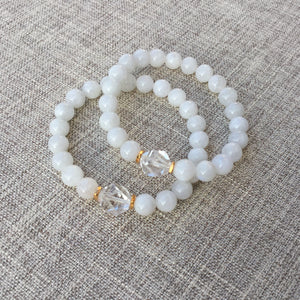 Shine // Sacred Single Wrist Mala Bracelet // White Rainbow Moonstone & Clear Quartz
