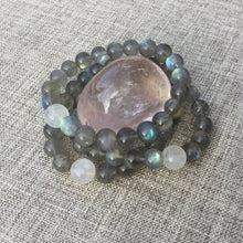 Load image into Gallery viewer, Lunar Love // Sacred Single Wrist Mala Bracelet // Labradorite & Rainbow Moonstone