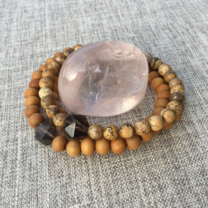 Earthly Nurture // Sacred Single Wrist Mala  Bracelet // Sand Picture Jasper & Smokey Quartz