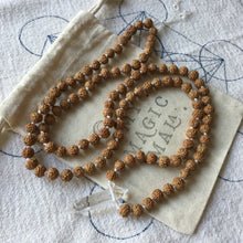 Load image into Gallery viewer, Sacred Rudraksha // Hand Knotted 108 Mala Bead Necklace // Rudraksha & Clear Quartz