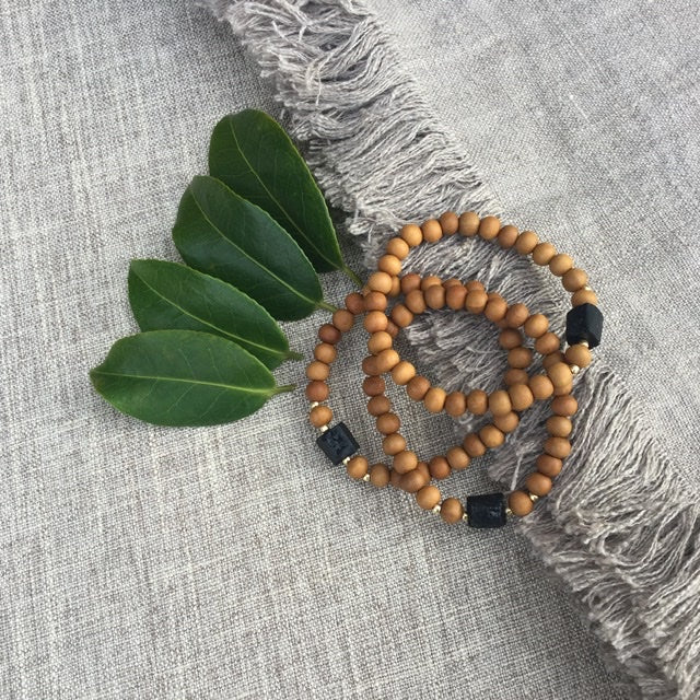 I Am Protected // Sacred Single Wrist Mala Bracelet // Black Tourmaline & Sandalwood