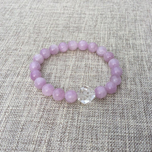 Loving Harmony // Kunzite & Clear Quartz Sacred Single Wrist Mala Bracelet