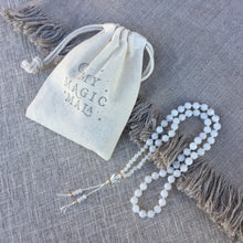 Load image into Gallery viewer, Shine // Hand Knotted 54 Half Mala Bead Necklace // White Rainbow Moonstone & Clear Quartz