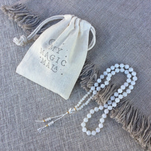 Shine // Hand Knotted 54 Half Mala Bead Necklace // White Rainbow Moonstone & Clear Quartz