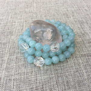 Serenity // Sacred Single Wrist Mala Bracelet // Aquamarine & Clear Quartz.