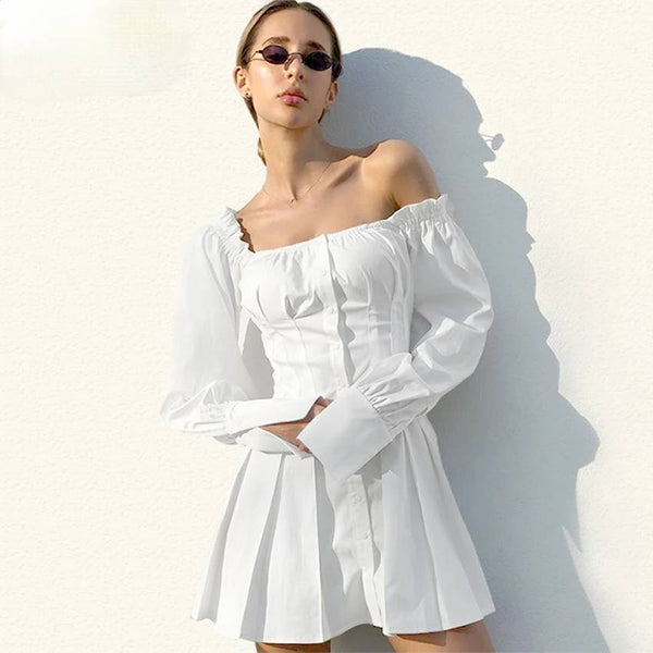 Casual Long Sleeve Square Neck White Mini Dress