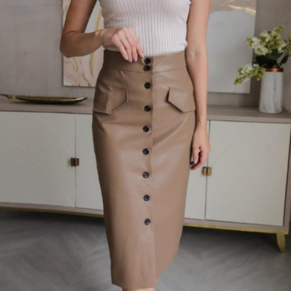 Elegant High Waist Leather Pencil Skirt