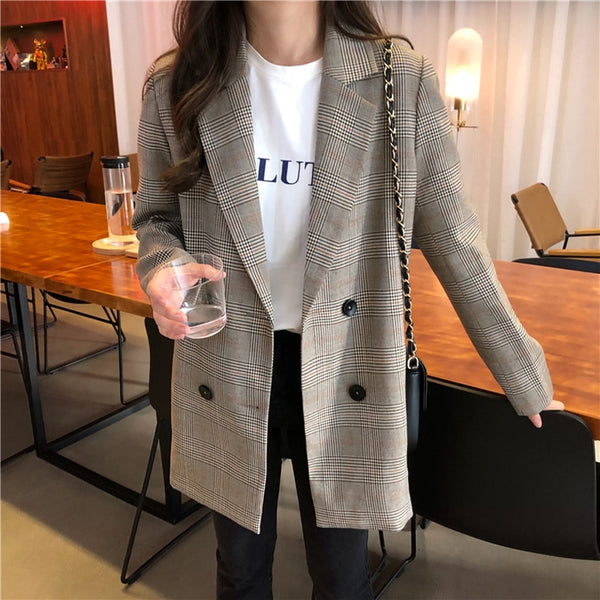 Office Ladies Notched Collar Plaid Blazer