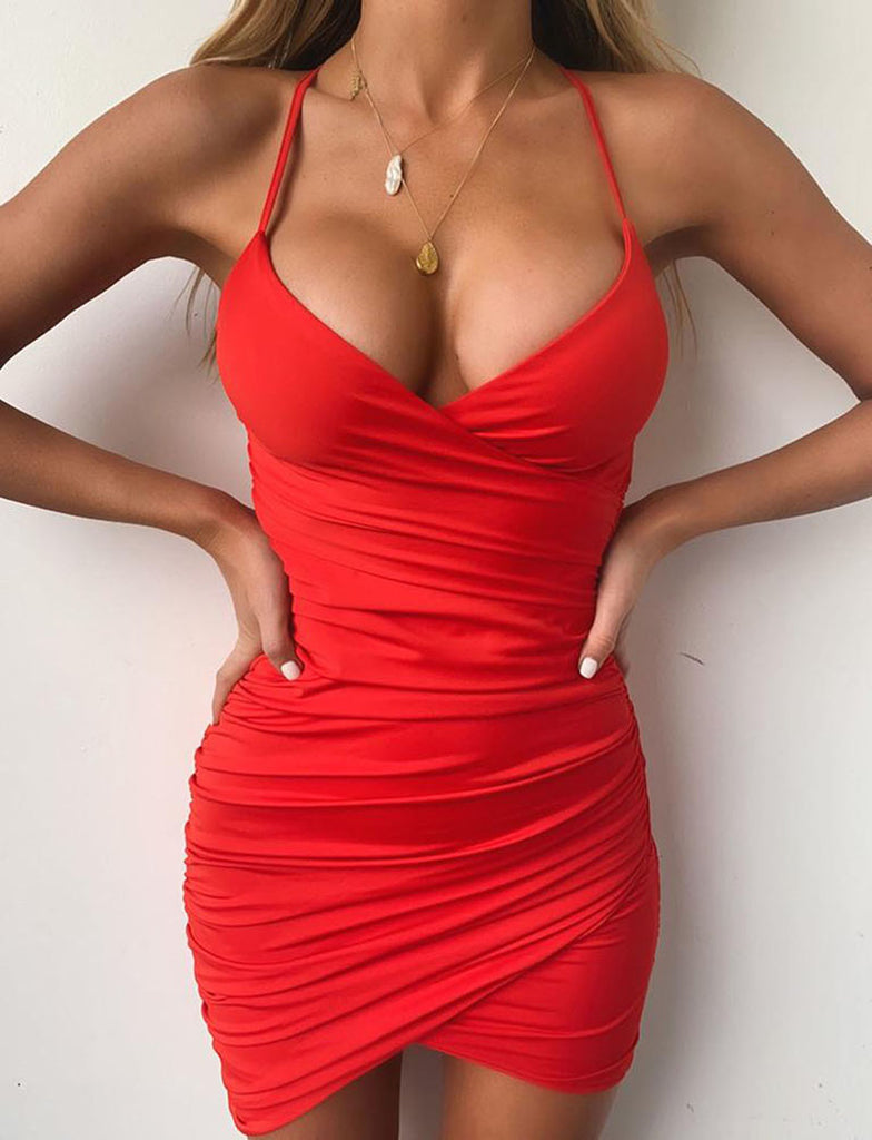 Deep V Neck Club Sexy Bodycon Dress