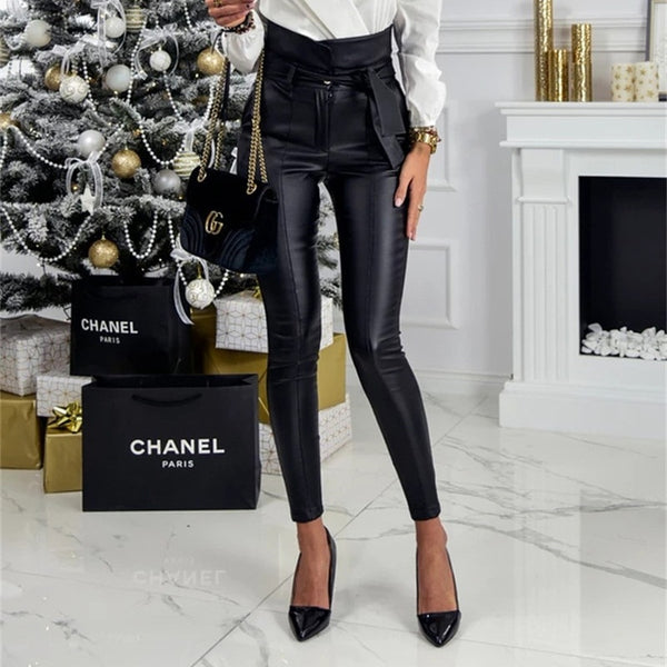 Faux Leather PU Sashes Belt High Waist Pencil Pant