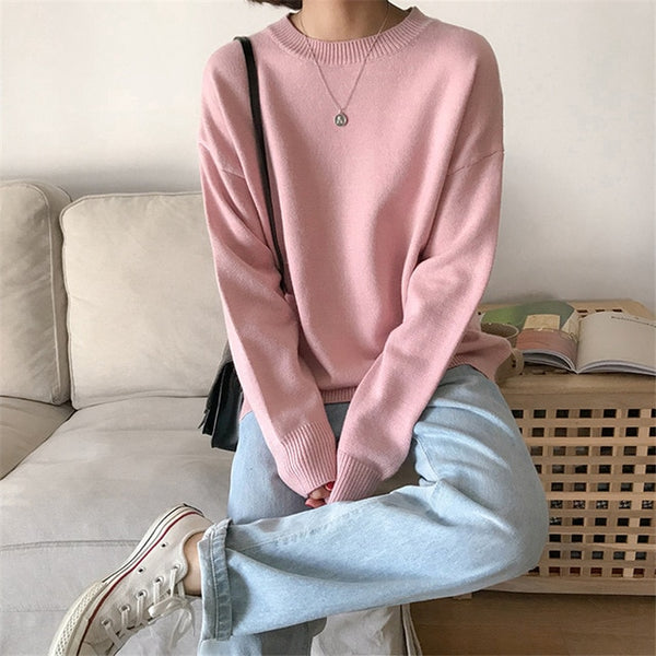 O-neck Knitted Loose Long Sleeve Sweater