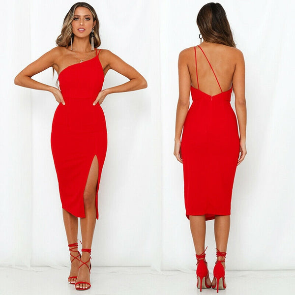 Elegant Spaghetti Strap Evening Bodycon Dress